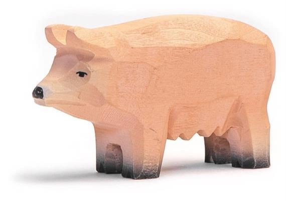 Trauffer Hausschwein Piggy, handgeschnitzt, 1947