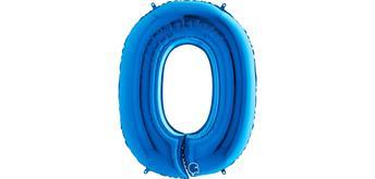 Zahlen-Folienballon - 0 in blau ohne Füllung