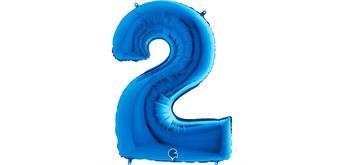 Zahlen-Folienballon - 2 in blau ohne Füllung