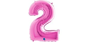 Zahlen-Folienballon - 2 in fuchsia ohne Füllung
