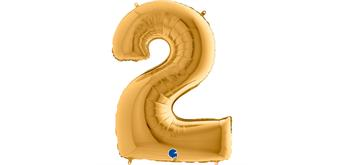 Zahlen-Folienballon - 2 in gold ohne Füllung