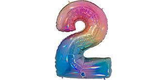 Zahlen-Folienballon - 2 regenbogen glitter holografisch
