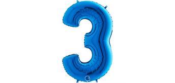 Zahlen-Folienballon - 3 in blau ohne Füllung
