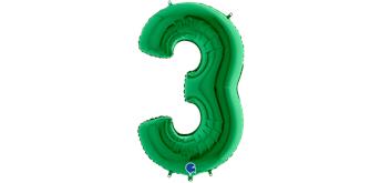Zahlen-Folienballon - 3 in grün ohne Füllung