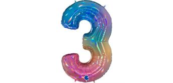 Zahlen-Folienballon - 3 regenbogen glitter holografisch