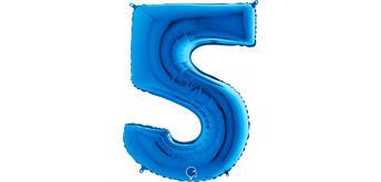 Zahlen-Folienballon - 5 in blau ohne Füllung
