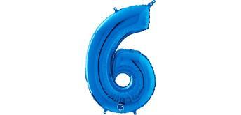 Zahlen-Folienballon - 6 in blau ohne Füllung