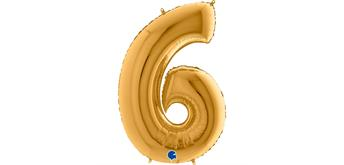 Zahlen-Folienballon - 6 in gold ohne Füllung