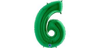 Zahlen-Folienballon - 6 in grün ohne Füllung