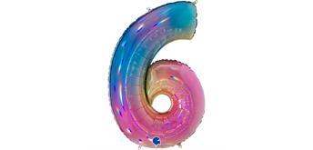 Zahlen-Folienballon - 6 regenbogen glitter holografisch