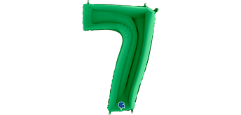 Zahlen-Folienballon - 7 in grün ohne Füllung