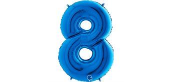 Zahlen-Folienballon - 8 in blau ohne Füllung