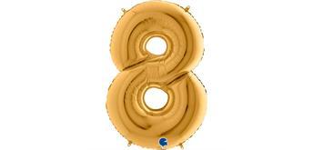 Zahlen-Folienballon - 8 in gold ohne Füllung