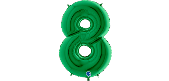 Zahlen-Folienballon - 8 in grün ohne Füllung