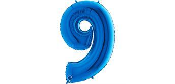 Zahlen-Folienballon - 9 in blau ohne Füllung