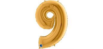 Zahlen-Folienballon - 9 in gold ohne Füllung